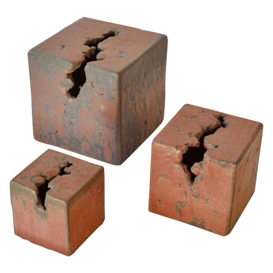 Set of Three Abstract Ceramic Cube Sculptures