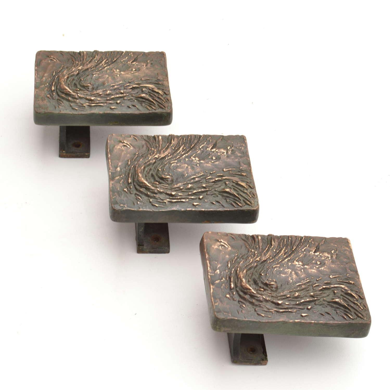 Brutalist Bronze Rectangle Push and Pull Door Handles Double Doors