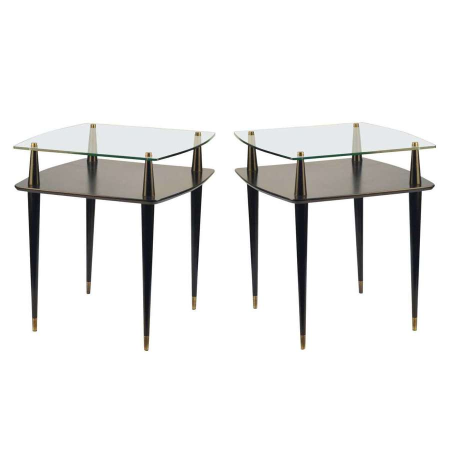 Pair of 1950's Black Square Side Tables