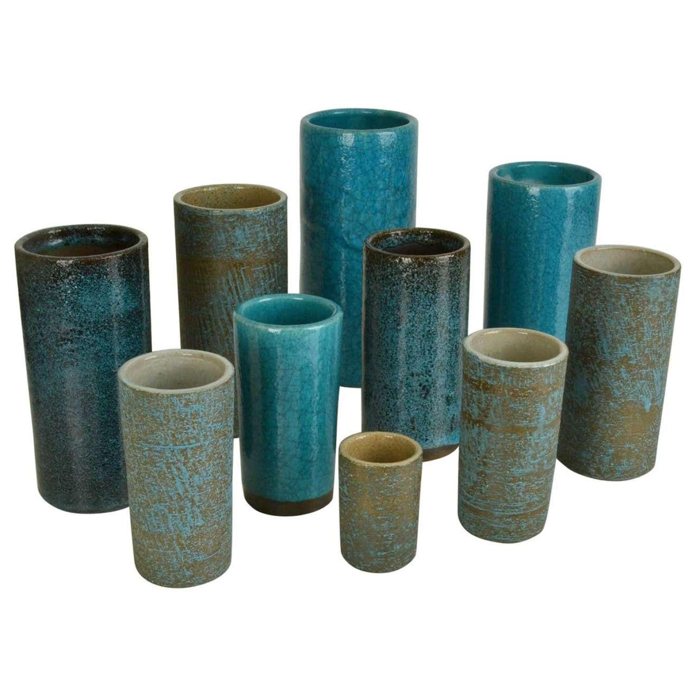 Set of Ten Blue Ceramic Cylinder Vases by Groeneveldt