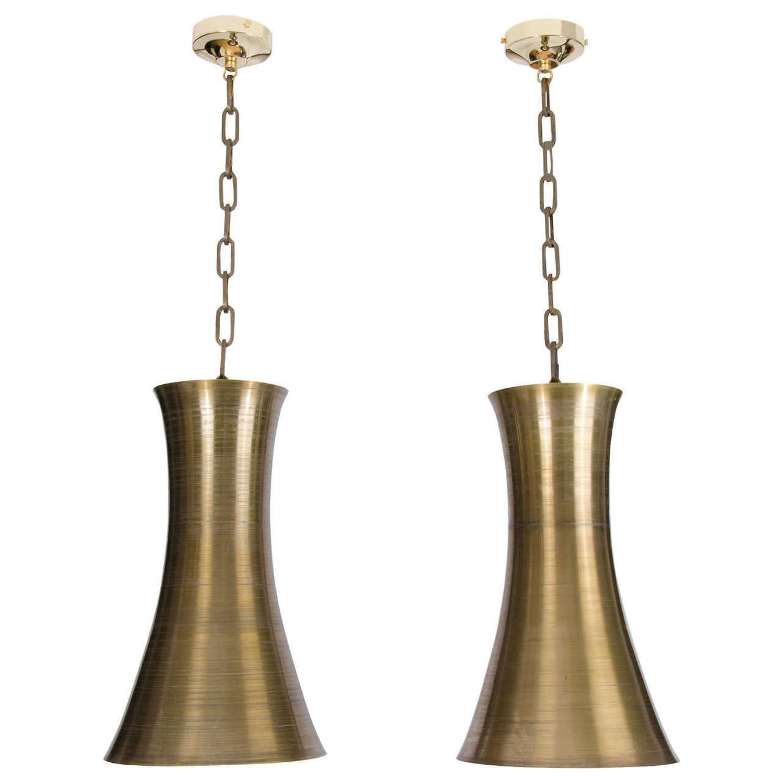 Pair of Bronze Color Hourglass Pendants