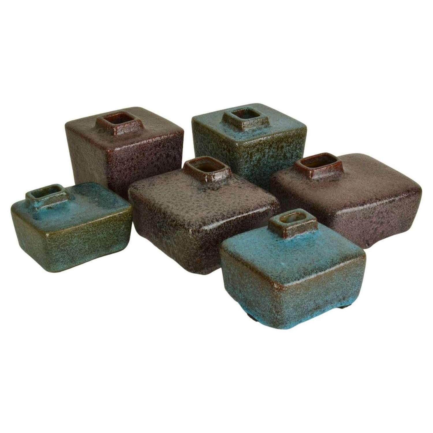 Set of Six Block Vases in Purple and Turquoise Ceramic by Groeneveldt