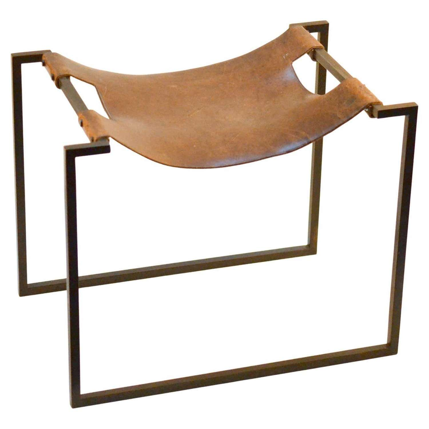 Modernist Wrought Iron and Leather French Sling Stool