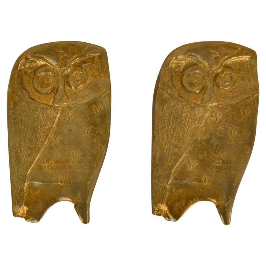 Pair of Bronze Owl Push and Pull Door Handles