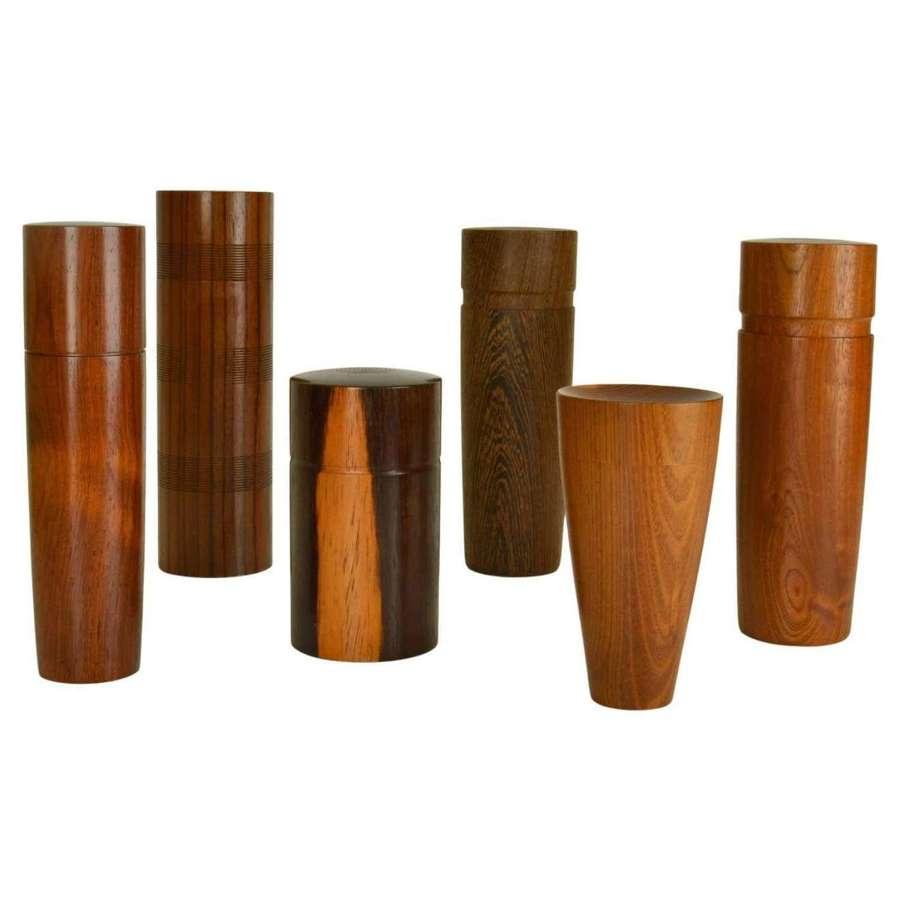 Six Hand Turned Hard Wood Boxes