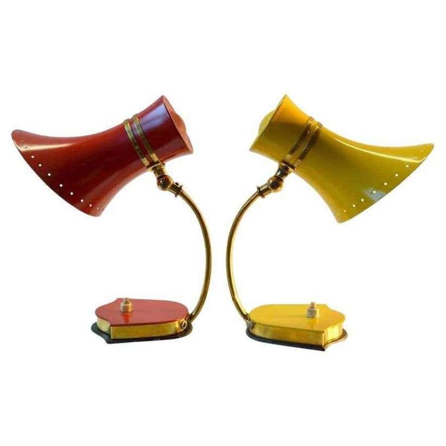Original Pair Stilnovo Table Lamps 1960s Italian Red & Yellow & Brass
