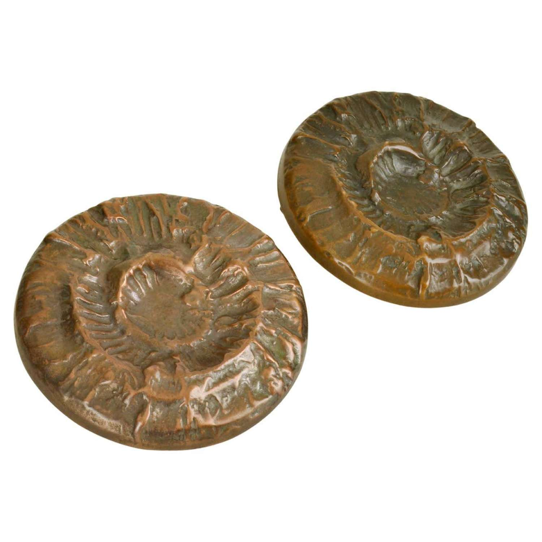 Round Pair of Bronze Square Push and Pull Door Handles